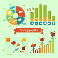 Supermarket foods infographics charts and graphs of natural and fresh products isolated vector illustration