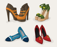 Fashion woman's shoes collection of ankle boots sandals and ballet flats isolated vector illustration 60016027945| 写真素材・ストックフォト・画像・イラスト素材|アマナイメージズ