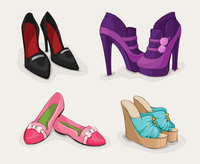 Fashion collection of classic woman's black shoes on high heels ankle boots and sandals isolated vector illustration 60016027946| 写真素材・ストックフォト・画像・イラスト素材|アマナイメージズ