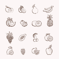 Fruits icons set of ananas apple bananas and cherry isolated vector illustration