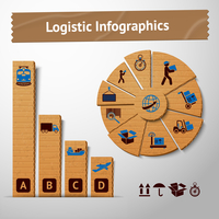 Logistic transportation service cardboard infographics elements for charts and graphs vector illustration 60016028033| 写真素材・ストックフォト・画像・イラスト素材|アマナイメージズ