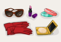 Fashion collection of classic women accessories of sunglasses lipstick cosmetic powder case and ornaments isolated vector illust 60016028131| 写真素材・ストックフォト・画像・イラスト素材|アマナイメージズ