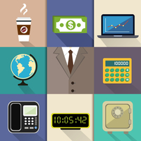 Business decorative items and office accessories with suit dollar notebook globe calculator phone clock safe vector illustration 60016028236| 写真素材・ストックフォト・画像・イラスト素材|アマナイメージズ