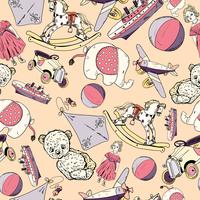 Antique baby toys sketch seamless pattern of teddy bear car doll kite vector illustration. 60016028267| 写真素材・ストックフォト・画像・イラスト素材|アマナイメージズ