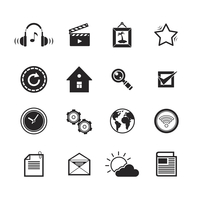 Mobile phone app search settings mail icons set  isolated vector illustration