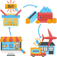 Online internet website shopping icons set of product search order payment electronic wallet and home delivery vector illustrati 60016028433| 写真素材・ストックフォト・画像・イラスト素材|アマナイメージズ