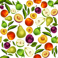 Seamless mixed ripe juicy sliced fruits pattern background with apple plum peach and pear hand drawn sketch vector illustration
