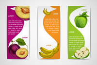 Mixed natural organic sweet fruits vertical banners collection of apple plum and banana for cafe dessert menu design template ve