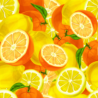 Seamless sliced juicy cut whole lemons and oranges with leaves pattern background vector illustration