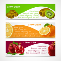 Natural organic tropical fruits banners set of cut and sliced orange pomegranate design template vector illustration