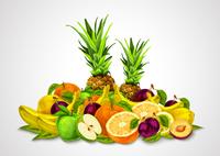 Natural organic fruits set still life with orange banana pineapple apple plum lemon vector illustration