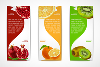 Natural organic tropical fruits vertical banners set of pomegranate orange kiwi design template vector illustration