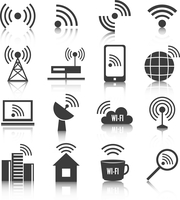 Wireless communication network business black icons set of wifi signal search cell tower and transmitter antenna isolated vector 60016028594| 写真素材・ストックフォト・画像・イラスト素材|アマナイメージズ