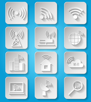 Wireless communication network business paper icons set of cafe wifi hotspot signal search and router device isolated vector ill 60016028595| 写真素材・ストックフォト・画像・イラスト素材|アマナイメージズ
