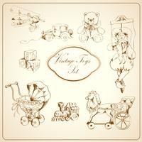 Decorative retro kids toys sketch icons set of airplane car teddy bear puppet isolated vector illustration 60016028619| 写真素材・ストックフォト・画像・イラスト素材|アマナイメージズ