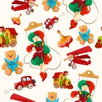 Decorative retro baby toys sketch seamless pattern of airplane peg top teddy bear puppet vector illustration 60016028620| 写真素材・ストックフォト・画像・イラスト素材|アマナイメージズ
