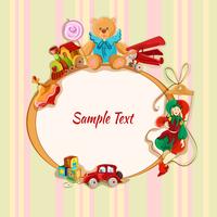 Vintage baby toys sketch frame postcard with peg top train lollypop teddy bear vector illustration 60016028624| 写真素材・ストックフォト・画像・イラスト素材|アマナイメージズ