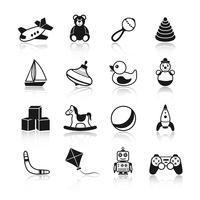 Black and white kid children toys icons set of airplane teddy bear rattle pyramid isolated vector illustration. 60016028673| 写真素材・ストックフォト・画像・イラスト素材|アマナイメージズ