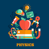 Physics science flat design poster with atom model magnet books vector illustration