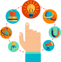 Physics signs icons with touching pointing hand concept vector illustration