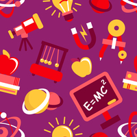 Physics equipment teaching and studying decorative seamless pattern vector illustration