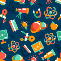 Physics equipment teaching and studying elements seamless wallpaper vector illustration