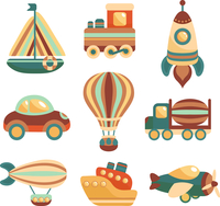 Toy transport colored cartoon icons set with yacht  train space rocket isolated vector illustration 60016028734| 写真素材・ストックフォト・画像・イラスト素材|アマナイメージズ