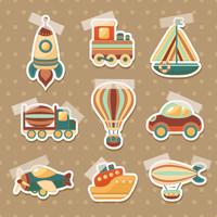 Toy transport colored cartoon stickers set with truck aerostat car isolated vector illustration 60016028735| 写真素材・ストックフォト・画像・イラスト素材|アマナイメージズ