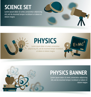 Physics science equipment school laboratory banners set isolated vector illustration