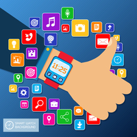 Smart watch smartphone sync concept with thumbs up hand and mobile apps icons vector illustration