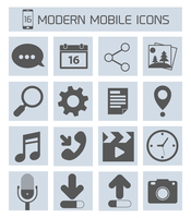 Mobile phone modern applications microphone mail video clock icons set  isolated vector illustration