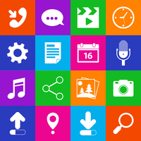 Mobile phone metro applications microphone mail video clock icons set  isolated vector illustration