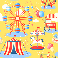 Amusement entertainment park seamless pattern with ferris wheel ice cream popcorn vector illustration 60016028932| 写真素材・ストックフォト・画像・イラスト素材|アマナイメージズ