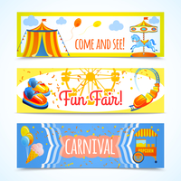 Amusement entertainment carnival theme park fun fair horizontal banners isolated vector illustration 60016028939| 写真素材・ストックフォト・画像・イラスト素材|アマナイメージズ