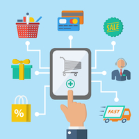 E-commerce internet shopping hand with mobile device and retail icons vector illustration 60016029009| 写真素材・ストックフォト・画像・イラスト素材|アマナイメージズ