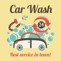 Car wash auto cleaner best service in town 24h poster vector illustration. 60016029040| 写真素材・ストックフォト・画像・イラスト素材|アマナイメージズ