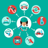 Car wash auto cleaner 24h service icons with service worker vector illustration 60016029041| 写真素材・ストックフォト・画像・イラスト素材|アマナイメージズ