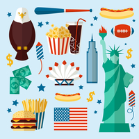 New York USA set of liberty statue skyscraper fast food isolated vector illustration 60016029049| 写真素材・ストックフォト・画像・イラスト素材|アマナイメージズ