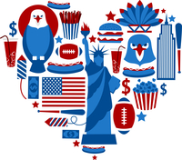 New York USA love travel concept with eagle hamburger cola baseball bat vector illustration 60016029050| 写真素材・ストックフォト・画像・イラスト素材|アマナイメージズ