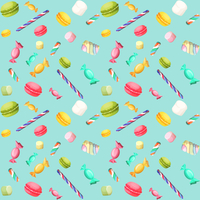 Sweets candy seamless pattern with macaron and marshmallow vector illustration 60016029084| 写真素材・ストックフォト・画像・イラスト素材|アマナイメージズ