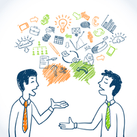 Doodle business conversation sketch concept with businessmen chatting and finance icons isolated vector illustration 60016029143| 写真素材・ストックフォト・画像・イラスト素材|アマナイメージズ