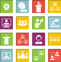 Business people online meeting strategic concepts icons set of virtual presentation conference and speech isolated vector illust 60016029152| 写真素材・ストックフォト・画像・イラスト素材|アマナイメージズ