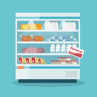 Supermarket thermocool refrigerator shelves food collection with milk fish meat cheese chicken sausage cake flat vector illustra