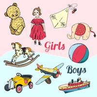 Vintage kids girls and boys toys sketch icons set isolated vector illustration 60016029182| 写真素材・ストックフォト・画像・イラスト素材|アマナイメージズ