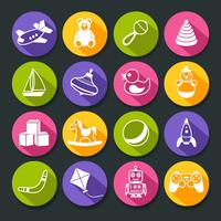 Kid children toys round icons buttons set of building blocks rocking horse ball isolated vector illustration 60016029221| 写真素材・ストックフォト・画像・イラスト素材|アマナイメージズ