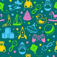 Children toys outline seamless pattern of teddy bear rattle kite vector illustration 60016029222| 写真素材・ストックフォト・画像・イラスト素材|アマナイメージズ