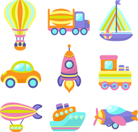 Toy transport cartoon icons set with train car plane isolated vector illustration 60016029231| 写真素材・ストックフォト・画像・イラスト素材|アマナイメージズ