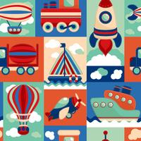 Toy transport cartoon seamless pattern with airplane aerostat sail yacht vector illustration 60016029233| 写真素材・ストックフォト・画像・イラスト素材|アマナイメージズ