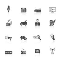 Press news  broadcasting newspaper reporter microphone and computer chat bubble design graphic isolated illustration icons set 60016029273| 写真素材・ストックフォト・画像・イラスト素材|アマナイメージズ