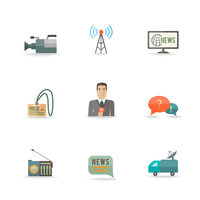 Decorative actual news live journalism operator strategic equipment camera logo card design icons set flat isolated illustration 60016029274| 写真素材・ストックフォト・画像・イラスト素材|アマナイメージズ